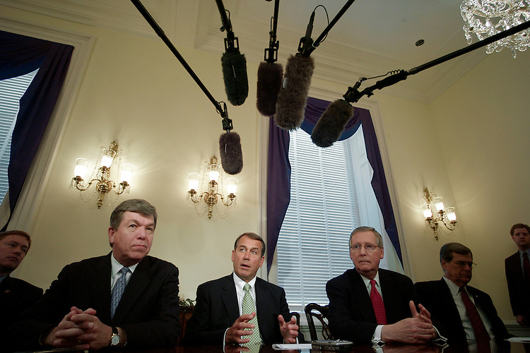 03/08/07--House Minority Whip Roy Blunt, R-Mo., House Minority Leader John A. Boehner, R-Ohio, Senate Minority Leader Mitch McConnell, R-Ky., and Senate Minority Whip Trent Lott, R-Miss., during a photo opp before their meeting after House and Senate Democratic leaders announced plans that would remove U.S. troops from Iraq by next year. The House plan sets an ultimate deadline of August 2008 for removing troops from combat in Iraq and would require the president to certify by July that Iraqis are meeting key political benchmarks. Meanwhile, Senate Democrats introduced a joint resolution outlining a limited new mission for U.S. troops in Iraq and setting a goal of removing them by March 31, 2008. The resolution also establishes a target date for a pullout of combat troops Ñ favored by liberal senators Ñ but only as a goal, easing the fears of some moderate senators who have opposed a hard withdrawal date. Congressional Quarterly Photo by Scott J. Ferrell