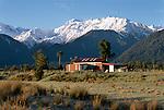 Farm buildings near Franz Josef. Westland Region. New Zealand.