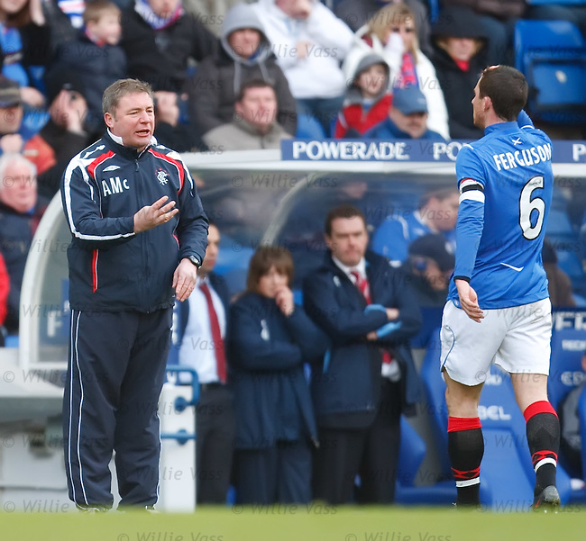 Ally McCoist issues tactical instructions to captain Barry Ferguson
