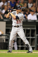 Detroit TIgers outfielder Ryan Raburn (25) during a game vs. the Chicago White Sox at U.S. Cellular Field in Chicago, Illinois August 13, 2010.   Chicago defeated Detroit 8-4.  Photo By Mike Janes/Four Seam Images