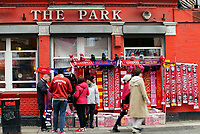 Scarves for sale outside Anfield as fans arrive ahead of kick-off<br /> <br /> Photographer Rich Linley/CameraSport<br /> <br /> UEFA Champions League Semi-Final 2nd Leg - Liverpool v Barcelona - Tuesday May 7th 2019 - Anfield - Liverpool<br />  <br /> World Copyright © 2018 CameraSport. All rights reserved. 43 Linden Ave. Countesthorpe. Leicester. England. LE8 5PG - Tel: +44 (0) 116 277 4147 - admin@camerasport.com - www.camerasport.com