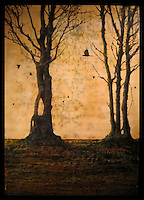SOLD - Encaustic painting of trees in forest with crow silhouette photo transfer over antique map.