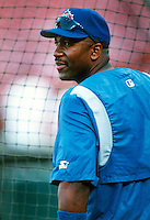 Joe Carter of the Toronto Blue Jays during a game at Anaheim Stadium in Anaheim, California during the 1997 season.(Larry Goren/Four Seam Images)
