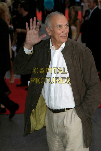 "FRANK LANGELLA.""Superman Returns"" UK film premiere, Odeon Leicester Square, London, UK..July 13th, 2006.ReF: AH.half length grey gray jacket hand palm waving.www.capitalpictures.com.sales@capitalpictures.com.© Capital Pictures."