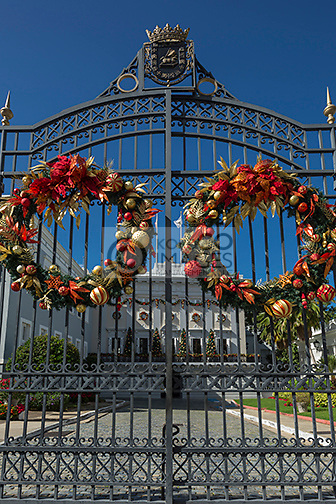 CHRISTMAS WREATHS ENTRANCE GATE GOVERNORS MANSION LA FORTELEZA OLD TOWN SAN JUAN PUERTO RICO
