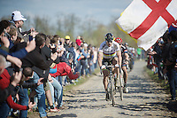 pre-race favorite Peter Sagan (SVK/Tinkoff) is not as powerful as he was the week before in Flanders as he has to let some riders go over the Carrefour de l'Arbre cobbles<br /> <br /> 114th Paris-Roubaix 2016
