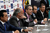 BOGOTA – COLOMBIA, 20-03-2019: Orlando Merlano (Izq.); Director del Instituto Distrital para la Recreación y el Deporte (IDRD); Ignacio Correa Sebastián (2 Izq.), Presidente de Colsanitas; David Londoño (Cent.), Director Corporativo de Mercadeo y Comunicaciones de Claro; Ernesto Lucerna (2 Der.), Director Nacional de Coldeportes y Jahn Fontalvo (Der.) de Gran Slam Producciones y Director General del Claro Colsanitas WTA 2019, durante la presentación del Claro Colsanitas WTA 2019 de tenis en el auditorio Adolfo Carvajal, en Coldeportes, torneo que se realizará en las canchas del Carmel Club en la ciudad de Bogotá del 6 al 14 de abril de 2019. / Orlando Merlano (L); Director of the District Institute for Recreation and Sports (IDRD); Ignacio Correa (2 L), President of Colsanitas; David Londoño (C), Corporate Director of Marketing and Communications of Claro; Ernesto Lucerna (2 R), National Director of Coldeportes and Jahn Fontalvo (R) of Gran Slam Productions and General Director of Claro Colsanitas WTA 2019, during the presentation of the Claro Colsanitas WTA 2019 tennis in the auditorium Adolfo Carvajal, in Coldeportes, tournament to be held in the courts of the Carmel Club in the city of Bogotá from April 6 to 14 de 2019. / Photo: VizzorImage / Luis Ramírez / Staff.