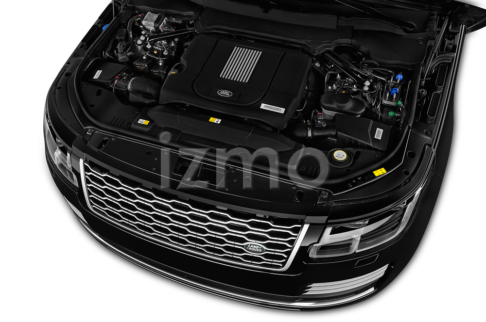 Car stock 2018 Land Rover Range Rover Autobiography 5 Door SUV engine high angle detail view