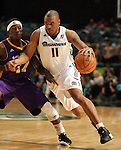 Reno Bighorns Will Blalock pushes past Los Angeles D-Fenders' Courtney Fortson duruing a basketball game in Reno, Nev., on Friday, Jan. 6, 2012. The D-Fenders won 109-78..Photo by Cathleen Allison