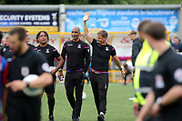 Crystal Palace Manager, Frank De Boer waves at the Palace fans as he walks towards the dressing room at half-time during Maidstone United  vs Crystal Palace, Friendly Match Football at the Gallagher Stadium on 15th July 2017