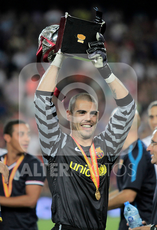 FC Barcelona's Victor Valdes celebrates the victory in the SuperCup of Spain Final match. August 21,2010. (ALTERPHOTOS/Acero)