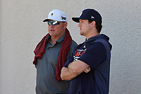 Detroit Tigers Casey Mize talks with Roger Clemens during a Minor League Spring Training game against the Toronto Blue Jays on March 22, 2019 at the TigerTown Complex in Lakeland, Florida.  (Mike Janes/Four Seam Images)