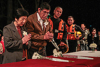 SAO PAULO, SP, 05 DE AGOSTO 2012 - II TOORO NAGASASHI - Komoto Torigoe (e) e Shunji Morimoto (d) sobrevivente da bomba nuclear de Hiroshima e Nagasashi durante homenagem  dos 67 anos da bomba atômica de Hiroshima, o Parque do Ibirapuera celebra a segunda edição do Tooro Nagashi (Luzes da Paz) na noite deste domingo. FOTO: VANESSA CARVALHO / BRAZIL PHOTO PRESS.