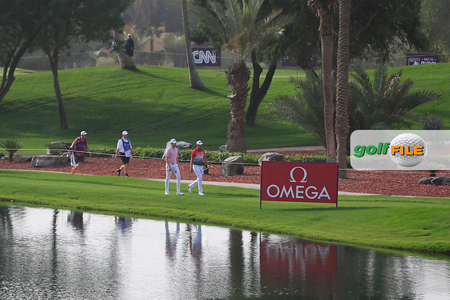 Steven Brown (ENG) and Jacques Kruyswijk (RSA) walking down the 7th during Round 2 of the Omega Dubai Desert Classic, Emirates Golf Club, Dubai,  United Arab Emirates. 25/01/2019<br /> Picture: Golffile | Thos Caffrey<br /> <br /> <br /> All photo usage must carry mandatory copyright credit (© Golffile | Thos Caffrey)