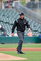 Umpire Shane Livensparger during an Eastern League game between the Indianapolis Indians and Columbus Clippers on April 30, 2019 at Victory Field in Indianapolis, Indiana. Columbus defeated Indianapolis 7-6. (Zachary Lucy/Four Seam Images)