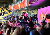 Drax Project perform during the international Twenty20 double-header cricket match between New Zealand and India at Westpac Stadium in Wellington, New Zealand on Wednesday, 6 February 2019. Photo: Dave Lintott / lintottphoto.co.nz
