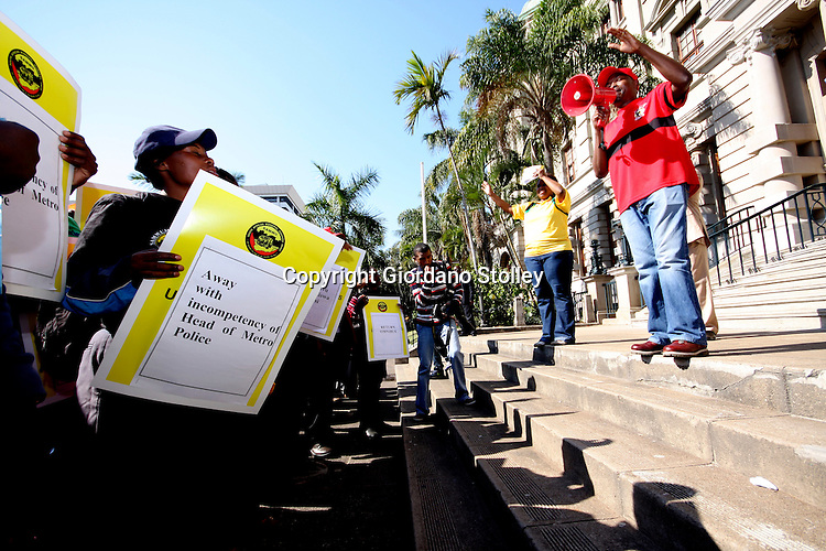 DURBAN - 20 July 2010 - South African Municipal Workers Union regional secretary Nhlanhla Nyandeni addresses unioni members, most of whom are eThekwini Metro Police outside the Durban City Hall. The officers stage a protest demanding that the police chief Eugene Nzama be fired..Picture: Giordano Stolley/Allied Picture Press/APP