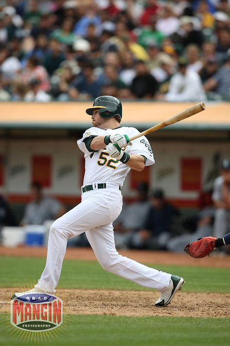 OAKLAND, CA - SEPTEMBER 20:  Jeff Baisley of the Oakland Athletics bats during the game against the Seattle Mariners at the McAfee Coliseum in Oakland, California on September 20, 2008.  The Athletics defeated the Mariners 8-7.  Photo by Brad Mangin