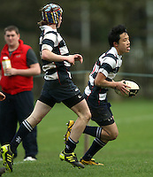 Saturday 3rd March 2012; Gary Chan scores his second try during the Medallion Shield semi-final between Wallace High School and Dromore High School at Osborne Park, Belfast. <br /> Picture credit: John Dickson / DICKSONDIGITAL