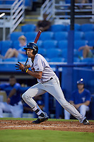 Jupiter Hammerheads center fielder Tristan Pompey (14) follows through on a swing during a game against the Dunedin Blue Jays on August 14, 2018 at Dunedin Stadium in Dunedin, Florida.  Jupiter defeated Dunedin 5-4 in 10 innings.  (Mike Janes/Four Seam Images)
