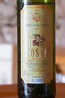 Posip Cara 2005 Vinogorje Korcula Posip Cara Tara Winery Toreta Vinarija Winery in Smokvica village on Korcula island. Vinarija Toreta Winery, Smokvica town. Peljesac peninsula. Dalmatian Coast, Croatia, Europe.
