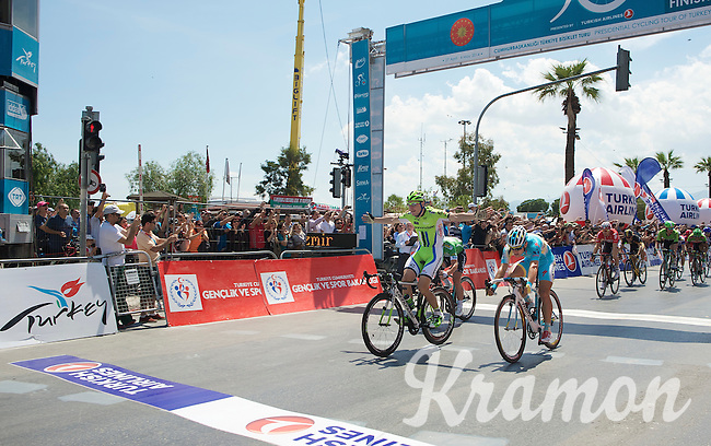 Elia Viviani (ITA/Cannondale) beats Andrea Guardini (ITA/Astana) &amp; Mark Cavendish (GBR/OPQS) to the finish line<br /> <br /> Tour of Turkey 2014<br /> stage 7