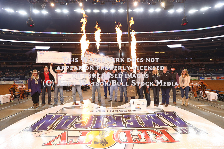 Kaycee Feild, Cort Scheer, and Matt Reeves split the $1,000,000 Bonus during the RFDTV's The American Rodeo presented by Dish. Photo by Andy Watson. Photo credit must be given on all use; Photo by; Andy Watson/ Bull Stock Media
