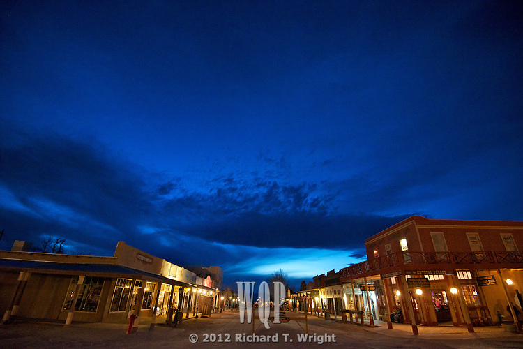 Tombstone, Arizona  A night sky lights and accents the main street of Tombstone Arizona.