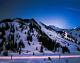 USA, Utah, scenic view of the mountain base and Alf's High Rustler at night, Alta Ski Resort