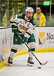 19 January 2018: University of Vermont Catamount Forward Rob Darrar, a Senior from Monroe Township, N.J., initiates a play during the first period against the University of Massachusetts Lowell Riverhawks at Gutterson Fieldhouse in Burlington, Vermont. The Riverhawks rallied to defeat the Catamounts 3-2 in overtime of their Hockey East matchup. Mandatory Credit: Ed Wolfstein Photo *** RAW (NEF) Image File Available ***