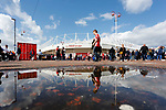 Sunderland fans and The Stadium of Light reflected in a puddle. Sunderland 2 Portsmouth 1, 17/08/2019. Stadium of Light, League One. Photo by Paul Thompson.