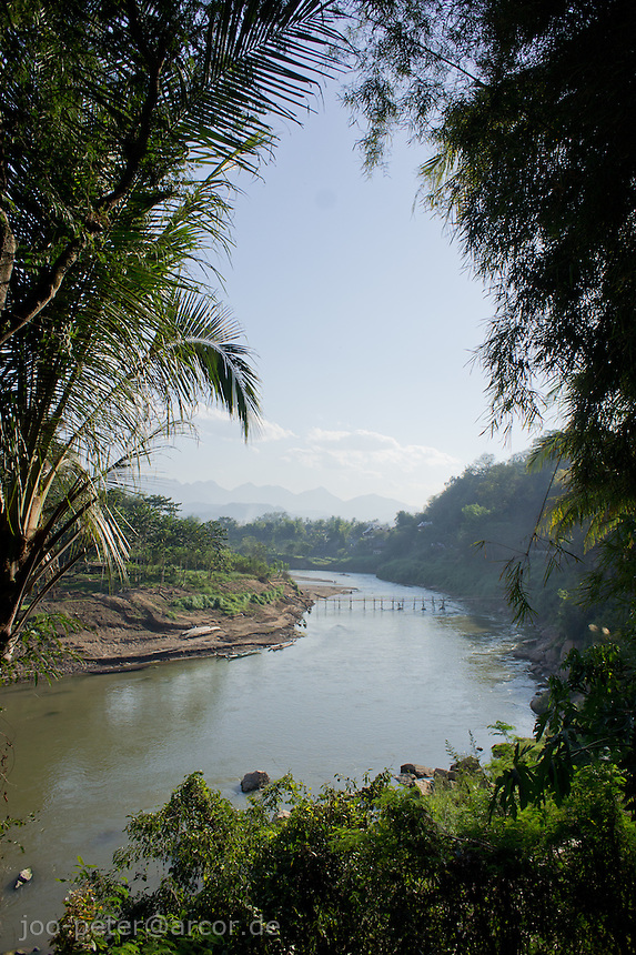 view on Mekong River from Luang Prabang, Laos, 2012. Luang Prabang is the old royal capitol of Laos.