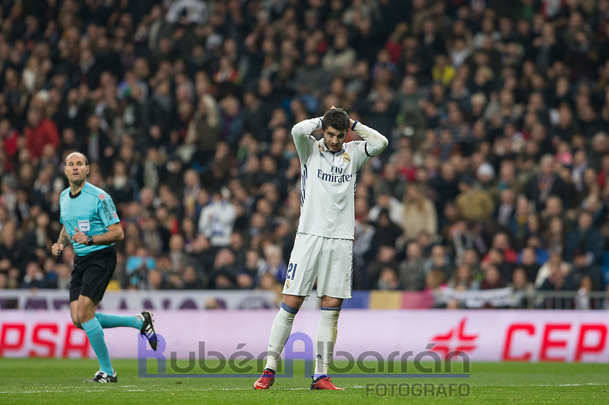Real Madrid´s Spanish forward Alvaro Morata lamenting during the Copa del Rey soccer match between Real Madrid and Sevilla played at the Santiago Bernabéu stadium in Madrid, on January 4th 2017.