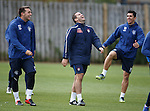 Adam Owen laughing at the antics at training