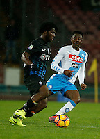 Franck Kessie Amadou Diawara  during the  italian serie a soccer match,between SSC Napoli and Atalanta      at  the San  Paolo   stadium in Naples  Italy , February 25, 2017