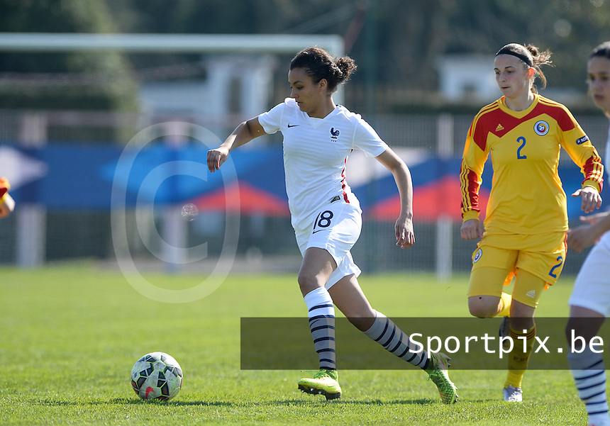 20150406 - OZOIR , FRANCE  : French Maeva Salomon pictured during the soccer match between Women Under 19 teams of France and Romania , on the second matchday in group 3 of the UEFA Elite Round Women Under 19 at Stade des 3 Sapins , Ozoir La Ferriere , France . Monday 6th April 2015 . PHOTO DAVID CATRY