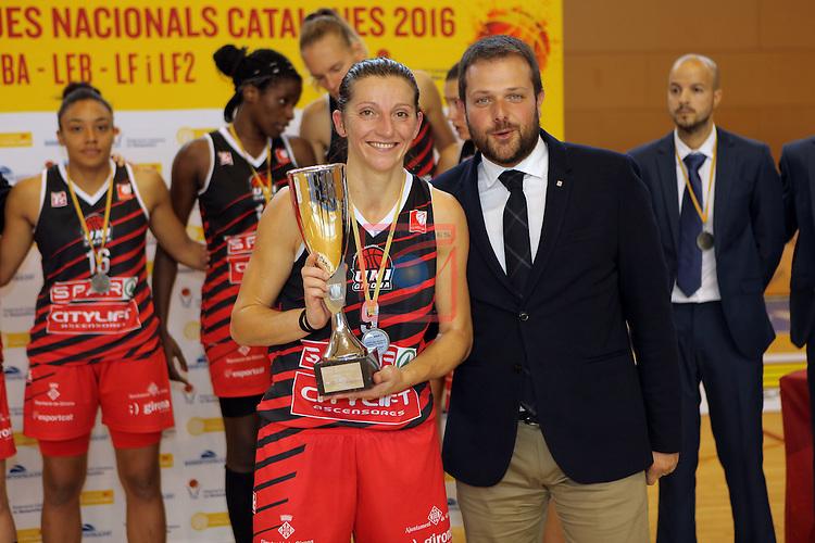 XXVIII Lliga Catalana Femenina 2016.<br /> Cadi La Seu vs Spar Citylift Girona: 71-57.<br /> Noemi Jordana &amp; Gerard Figueras.