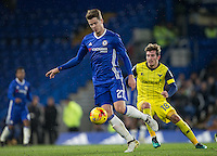 Marco Van Ginkel of Chelsea turns Joe Rothwell of Oxford United during the The Checkatrade Trophy match between Chelsea U23 and Oxford United at Stamford Bridge, London, England on 8 November 2016. Photo by Andy Rowland.