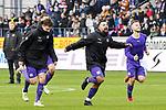 09.11.2019, Stadion an der Bremer Brücke, Osnabrück, GER, 2. FBL, VfL Osnabrueck vs. VfB Stuttgart<br /> <br /> ,DFL REGULATIONS PROHIBIT ANY USE OF PHOTOGRAPHS AS IMAGE SEQUENCES AND/OR QUASI-VIDEO, <br />   <br /> im Bild<br /> v.li. Moritz Heyer (VfL Osnabrück #6), Marcos Alvarez (VfL Osnabrück #9) und David Blacha (VfL Osnabrück #23) bejubeln den Sieg. Schlussjubel / Schlußjubel / Emotion / Freude / <br /> <br /> <br /> Foto © nordphoto / Paetzel