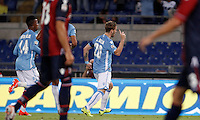 Calcio, Serie A: Lazio vs Bologna. Roma, stadio Olimpico, 22 agosto 2015.<br /> Lazio&rsquo;s Lucas Biglia, right, celebrates after scoring during the Italian Serie A football match between Lazio and Bologna at Rome's Olympic stadium, 22 August 2015.<br /> UPDATE IMAGES PRESS/Isabella Bonotto