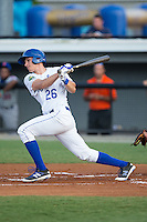 Tyler Straub (26) of the Burlington Royals follows through on his swing against the Kingsport Mets at Burlington Athletic Stadium on July 18, 2016 in Burlington, North Carolina.  The Royals defeated the Mets 8-2.  (Brian Westerholt/Four Seam Images)