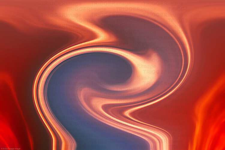The abstract and intense red colored pattern of movement of a vortex.