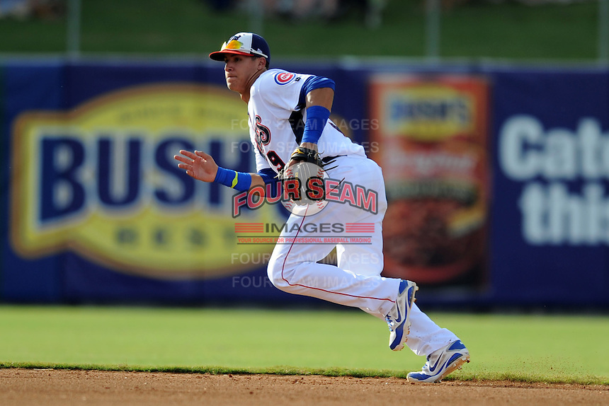 Tennessee Smokies shortstop Javier Baez #9 reacts to the ball during game one of a double header against the Huntsville Stars at Smokies Park on July 8, 2013 in Kodak, Tennessee. The Stars won the game 2-0. (Tony Farlow/Four Seam Images)