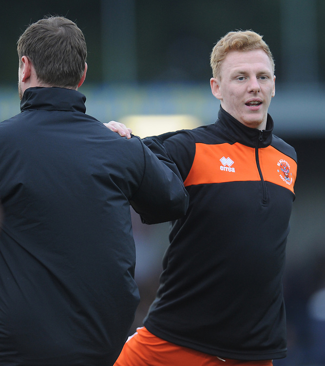 Blackpool's Callum Guy during the pre-match warm-up <br /> <br /> Photographer Kevin Barnes/CameraSport<br /> <br /> The EFL Sky Bet League One - AFC Wimbledon v Blackpool - Saturday 29th December 2018 - Kingsmeadow Stadium - London<br /> <br /> World Copyright © 2018 CameraSport. All rights reserved. 43 Linden Ave. Countesthorpe. Leicester. England. LE8 5PG - Tel: +44 (0) 116 277 4147 - admin@camerasport.com - www.camerasport.com
