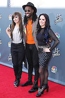 "UNIVERSAL CITY, CA, USA - APRIL 15: Christina Grimmie, Delvin Choice, Kat Perkins at NBC's ""The Voice"" Season 6 Top 12 Red Carpet Event held at Universal CityWalk on April 15, 2014 in Universal City, California, United States. (Photo by Xavier Collin/Celebrity Monitor)"