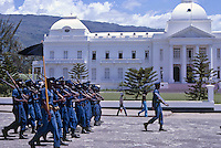Troops march in front of the Presidential Palace in Port-Au-Prince, Haiti, 1981.  (Photo by Edward Cleary/www.bcpix.com)