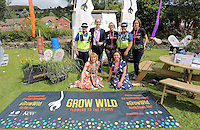 Pictured L-R: Gwent Police PCSO Sharon Norman, Phillip Turvil, Abigail Moss, PCSO Tanya Humphreys and Unknown. Front row L-R Maria Golightly and Unknown Saturday 13 August 2016<br />Re: Grow Wild event at  Furnace to Flowers site in Ebbw Vale, Wales, UK