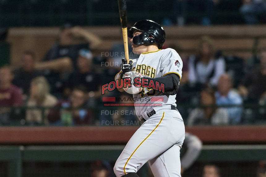 Surprise Saguaros first baseman Will Craig (45), of the Pittsburgh Pirates organization, follows through on his swing during an Arizona Fall League game against the Scottsdale Scorpions at Scottsdale Stadium on October 15, 2018 in Scottsdale, Arizona. Surprise defeated Scottsdale 2-0. (Zachary Lucy/Four Seam Images)