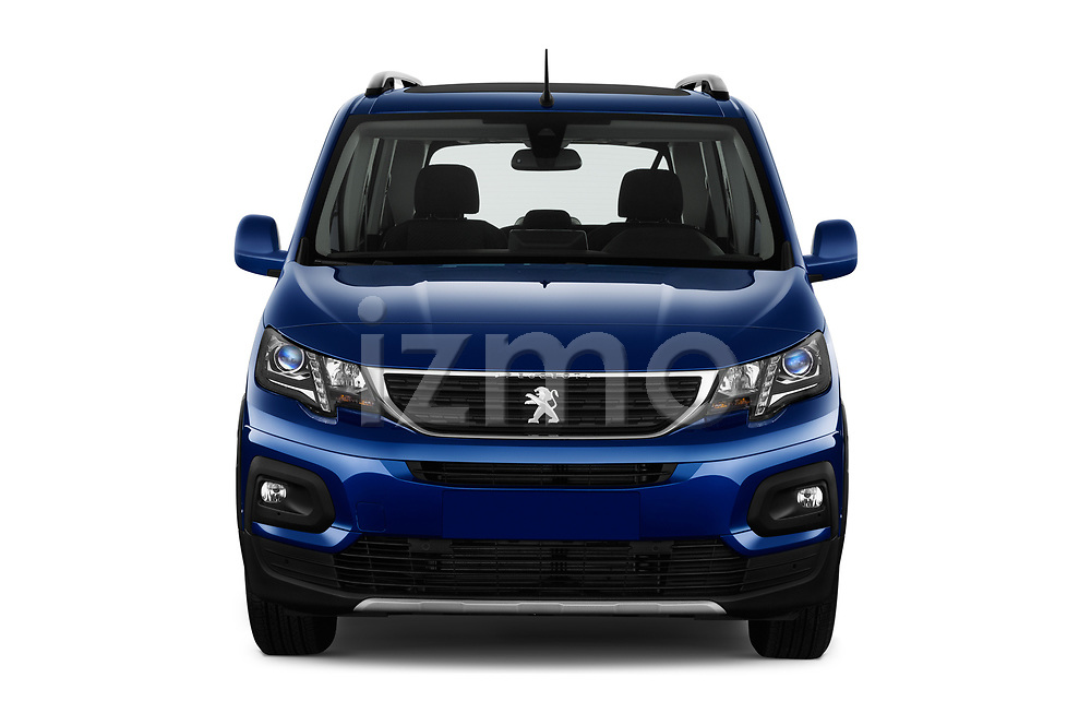 Car photography straight front view of a 2019 Peugeot Rifter Allure Door Mini Mpv Front View