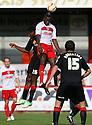Lucas Akins of Stevenage heads clear. Stevenage v Crewe Alexandra - npower League 1 -  Lamex Stadium, Stevenage - 15th September, 2012. © Kevin Coleman 2012.